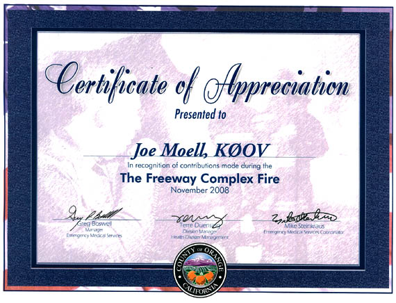 Certificate from OC-EMS